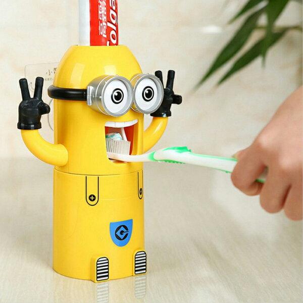 糖衣子輕鬆購【BA0192】創意卡通小小兵自動擠牙膏器家用牙刷架漱口杯