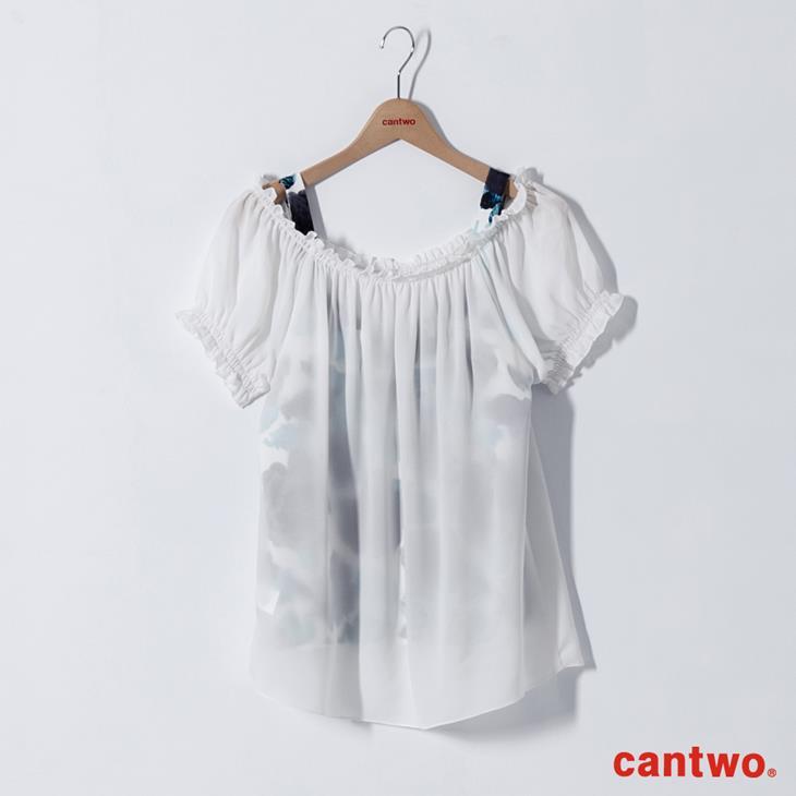 cantwo微透視印花兩件式雪紡上衣(共二色) 6