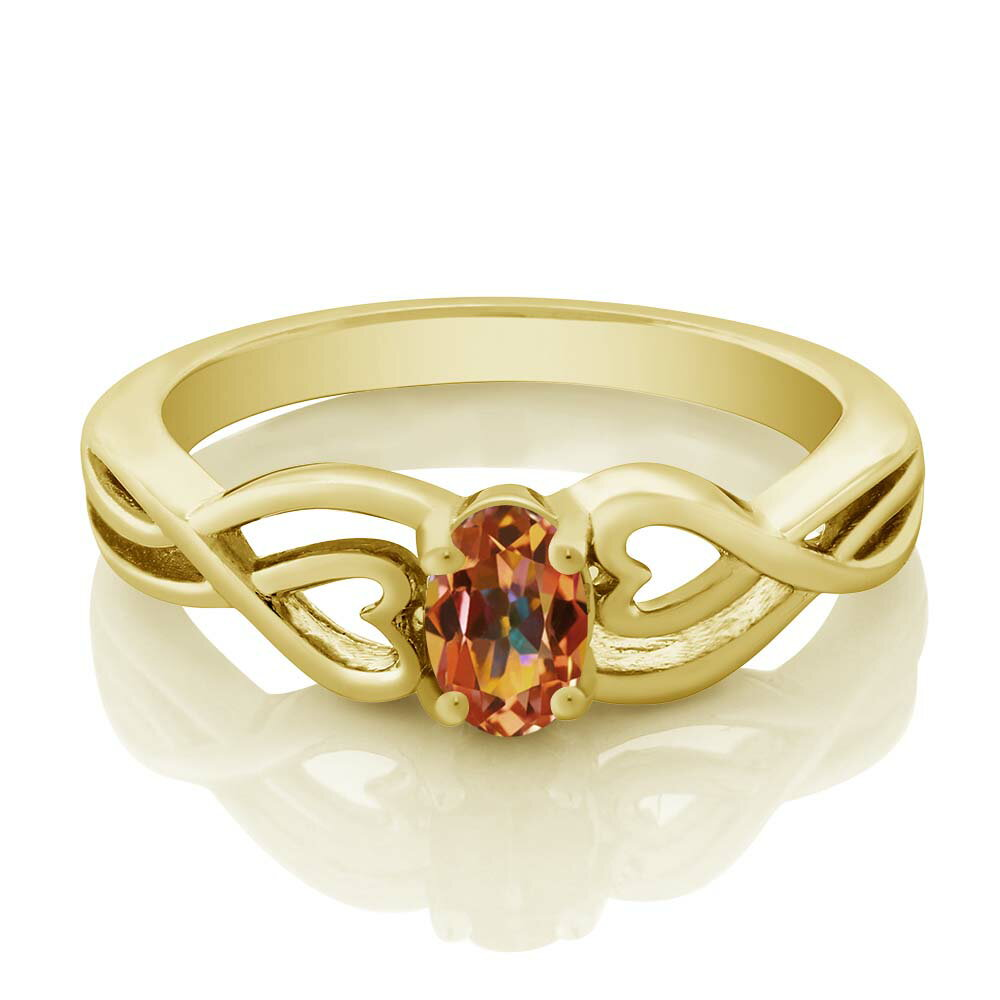0.50 Ct Oval Ecstasy Mystic Topaz 18K Yellow Gold Plated Silver Ring 1