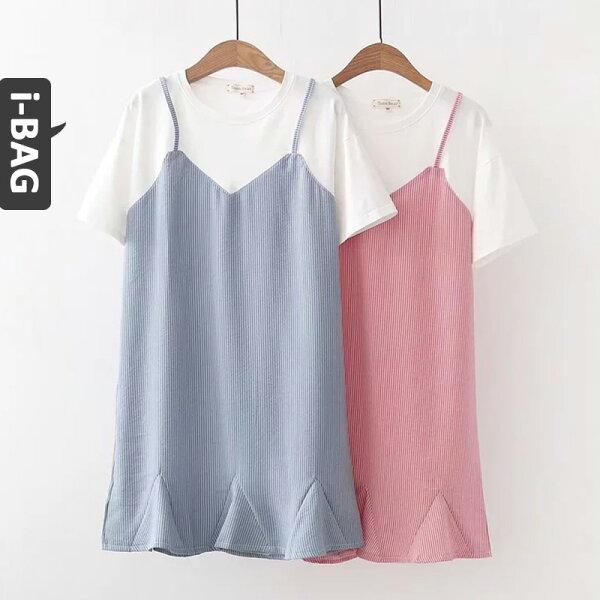 B.A.G*現+預*【DA1573】條紋假兩件連身裙(現+預)-2色