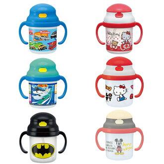 鐵道王國 TOMICA 凱蒂貓 米奇 蝙蝠俠 塑膠 兩手 吸管水壺 學習杯 嬰兒 幼兒 日本進口正版