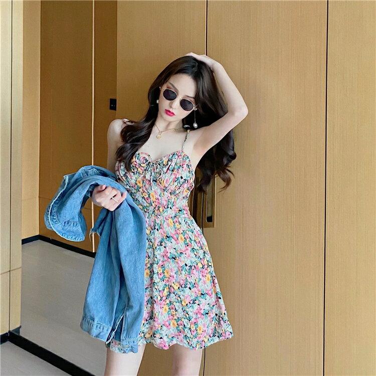 碎花洋裝 韓版chic法式復古碎花吊帶連身裙女夏季新款V領內搭露肩打底裙子