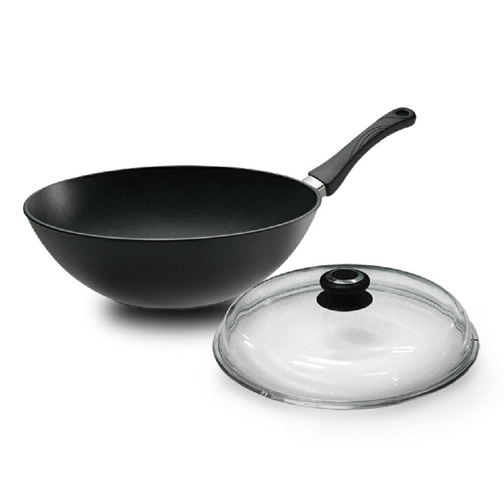 廣三SOGO 益康屋 UCOM德國黑魔法新炒鍋單柄30cm + 玻璃蓋30CM