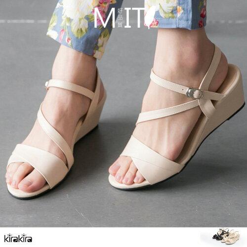 涼鞋- MIT名媛優雅線條楔形涼鞋【011600092】-預購