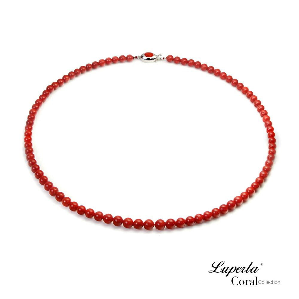 大東山珠寶 頂級天然全紅珊瑚 5.5-6mm圓珠項鍊 0