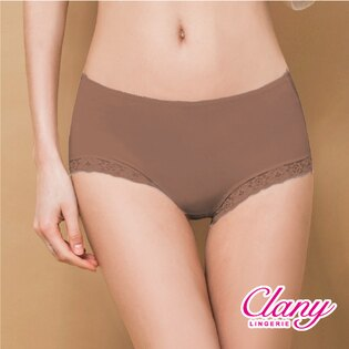 可蘭霓內衣:【可蘭霓Clany】微性感蕾絲抗敏M-XL內褲貴族褐2171-13