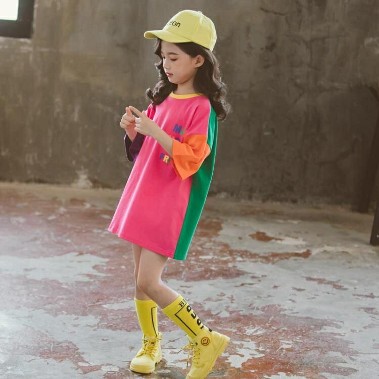 女童短袖上衣 女童短袖t恤裙純棉洋氣寬鬆夏裝女兒童中長款半袖上衣潮T-