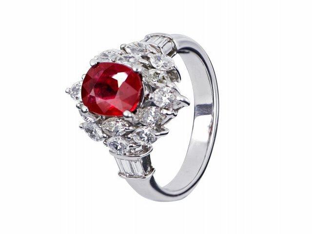 天然紅寶石戒指 2.02克拉 鴿血紅/緬甸 商品編號:YC981028