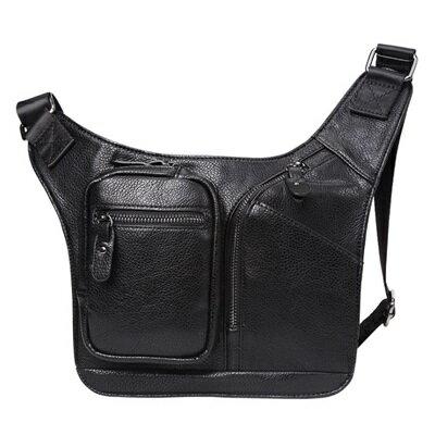 胸包皮革肩背包-純色簡約有型大容量男包包73rv54【獨家進口】【米蘭精品】