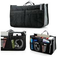 Lady Women Travel Insert Organizer Compartment Bag Handbag Purse Large Liner Tidy Bag - Black