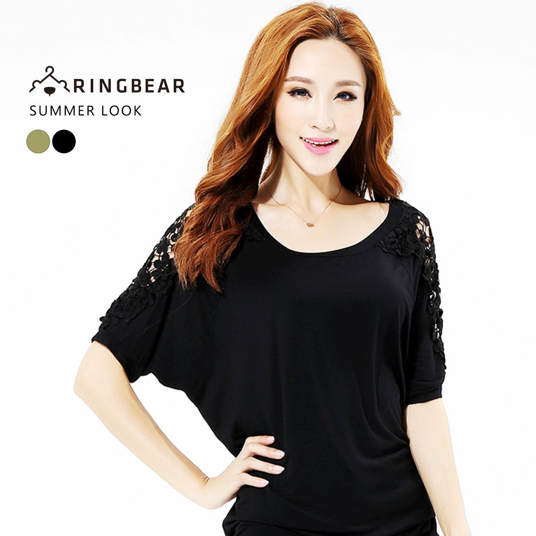 蕾絲--知性時尚蕾絲鏤空透肩設計圓領寬鬆短袖上衣(黑.綠XL-3L)-U426眼圈熊中大尺碼 0