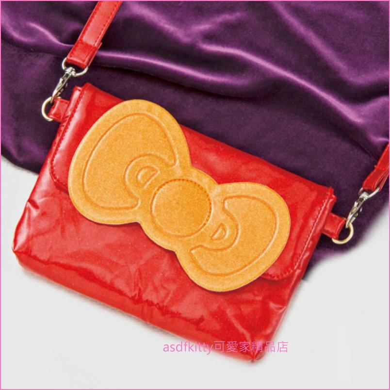 asdfkitty可愛家☆KITTY閃亮紅斜背包/側背包/手機包-日本版正版商品