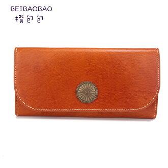 【BEIBAOBAO】義大利手工縫線真皮皮夾(奶茶棕)