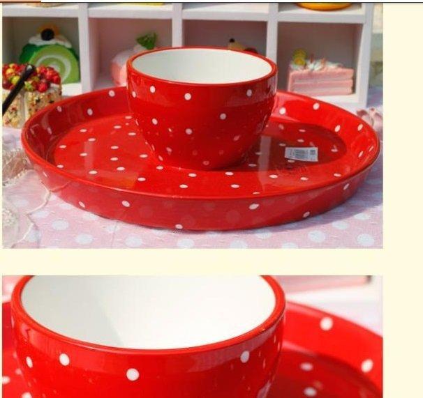 紅色波點陶瓷蛋糕盤 水果盤創意個性 正面是蛋糕盤翻過來是水果盤