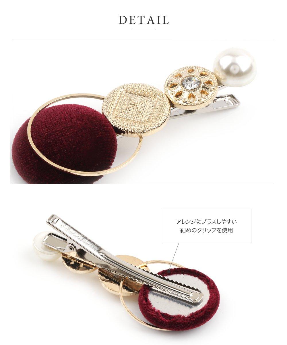 日本CREAM DOT  /  ヘアクリップ ヘアアクセサリー ベロアボタン ビジュー パール メタル 大人カジュアル シンプル 可愛い ベージュ グレー ピンク ボルドー ネイビー  /  k00338  /  日本必買 日本樂天直送(1098) 4