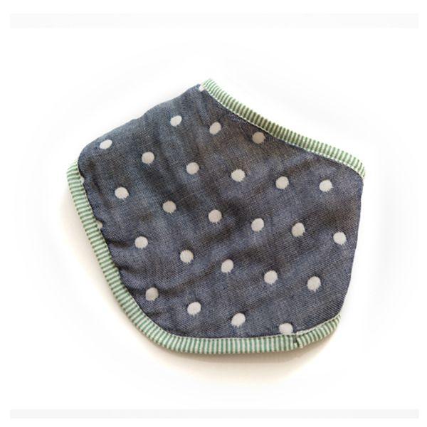★衛立兒生活館★Hibou 六層紗口水巾圍兜/三角巾-丹寧藍