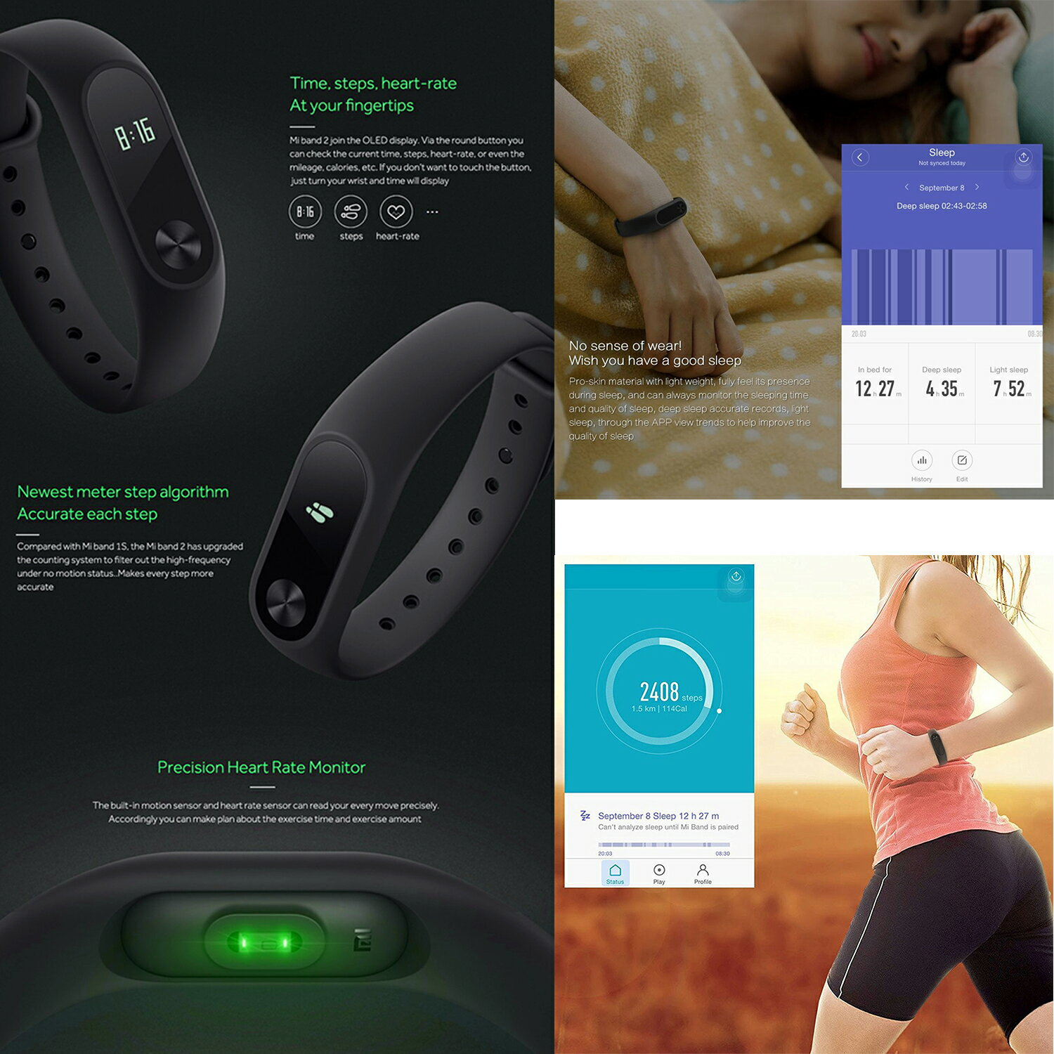 Smart Wristband Fitness Activity Tracker With OLED Display Touchpad Heart Rate Monitor Pedometer Waterproof Wireless Bluetooth 4.0 Support Android 4.4 SUMSUNG GOOGLE HTC SONY and iphone 5/6/6s/7 IOS 7.0 (Black) 9