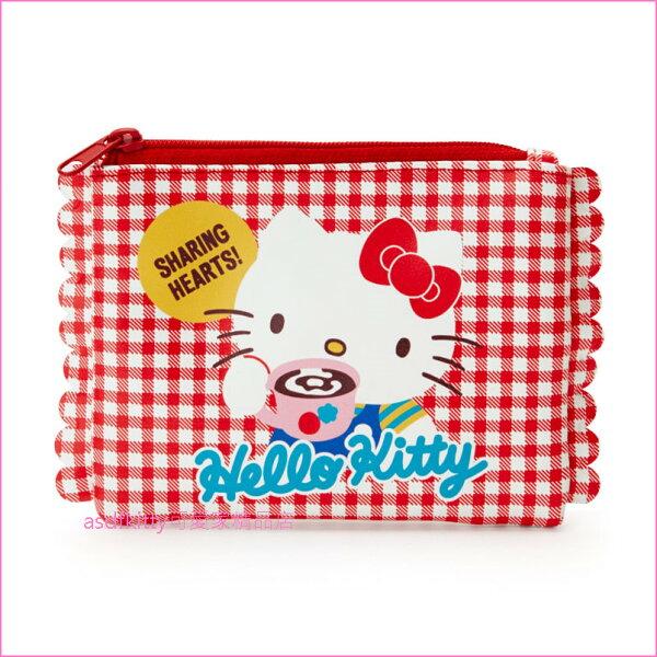 asdfkitty可愛家☆KITTY喝咖啡面紙收納包化妝包-日本正版商品