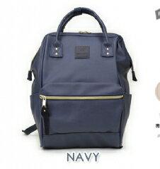 日本帶回 (大款皮質 NA藍色) anello 新款 皮質大開口後背包 皮製2WAY手提包超便利寬口包
