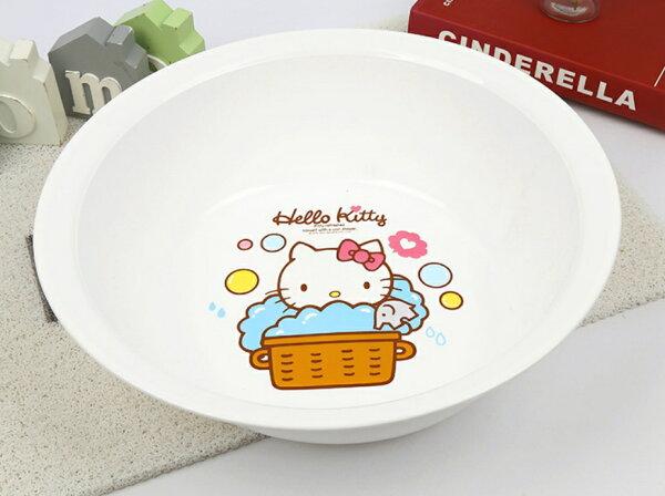 【真愛日本】18042800003大臉盆15吋-KT浴裙白三麗鷗kitty凱蒂貓臉盆洗手盆塑膠臉盆