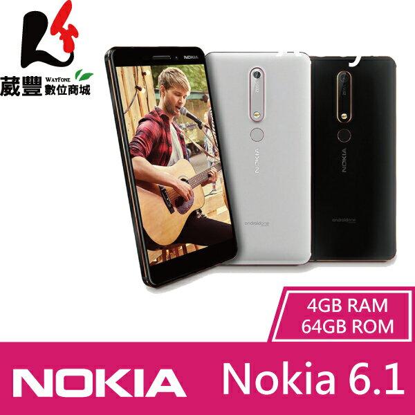 ★滿3,000元10%點數回饋★【贈自拍棒+筆記本+紀念鋼筆】Nokia 6.1 (2018新版) 4G/64G 雙卡雙待 智慧型手機