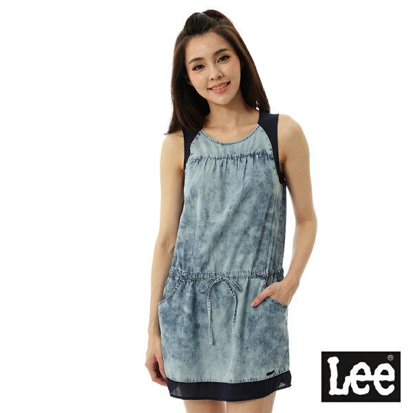 Lee Jeans tw:【精選上衣3.5折】Lee無袖雪花抽繩洋裝-女-藍【單筆消費滿1000元全會員結帳輸入序號『CNY100』↘折100