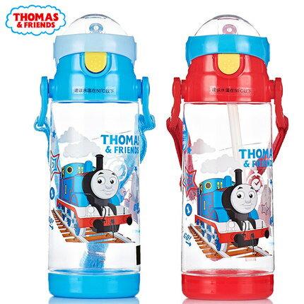 正版THOMAS湯瑪士小火車兒童吸管水杯防漏背帶500ml水壺ST51006