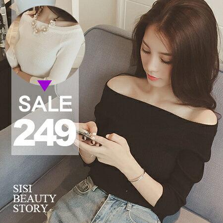 SISI【L5053】性感優雅 韓版一字領五分袖螺紋針織衫上衣 露肩顯瘦羅紋緊身T