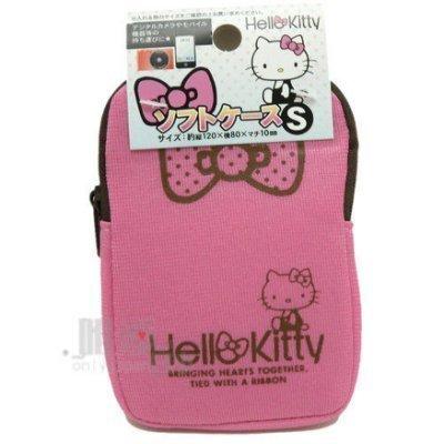 【真愛日本】6220100 彈力布拉鍊數位套-粉結S Hello Kitty 數位包 收納袋 日本帶回