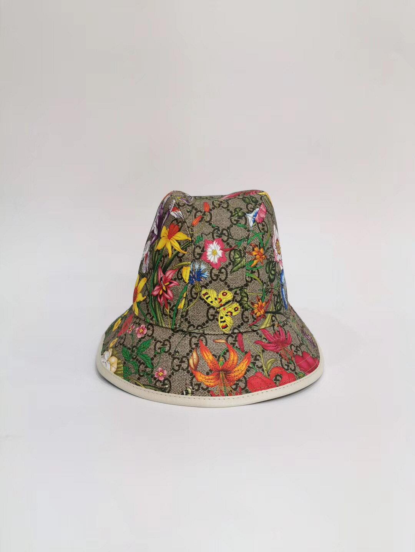 【Go時尚】GUCCI GG Flora Fedora 花朵 漁夫帽 古馳 帽子 白色 603988 1