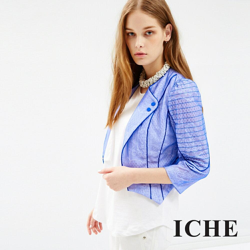 ICHE 衣哲 藍色滾邊小翻領短版外套