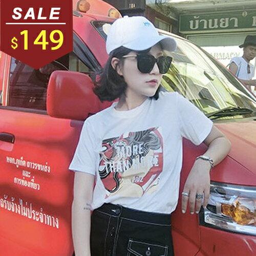上衣 日式人物字母印花短袖棉質T恤 小豬兒 MiNi Jule ~SCA61046703~