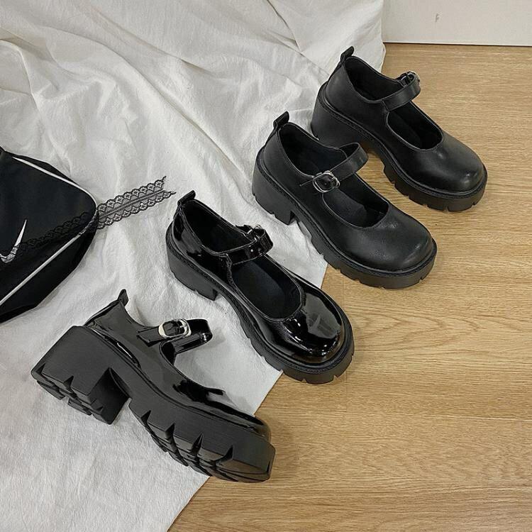 日系小皮鞋女英倫復古厚底jk制服百搭學院黑色中跟瑪麗珍高跟單鞋