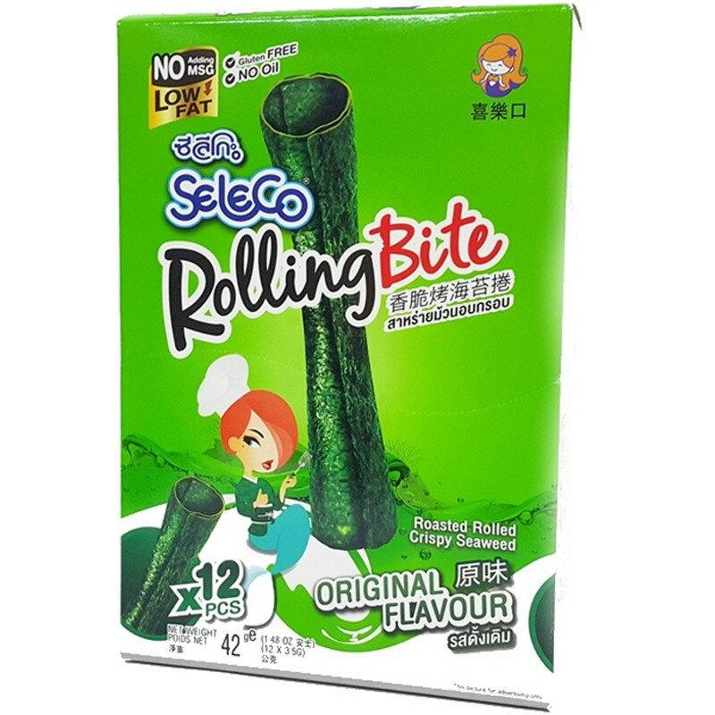 喜樂口香脆烤海苔捲-原味 1箱(42g*12盒)【2019070400027】(泰國零食)