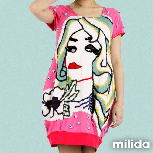 【Milida,全店七折免運】-夏季商品-拼貼款-插畫情人洋裝 1