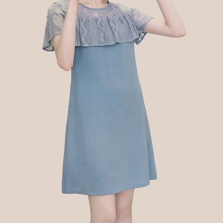 雪紡洋裝--優雅空花蕾絲荷葉袖拼接修身雪紡圓領短袖洋裝(黑.藍M-3L)-D496眼圈熊中大尺碼 0