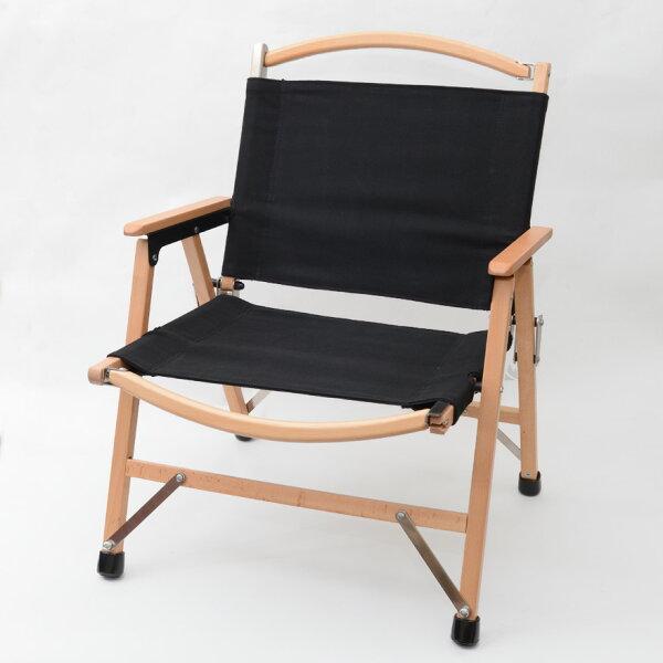 小巨人櫸木低面折疊椅黑色帆布含椅腳套GPC-18002BK