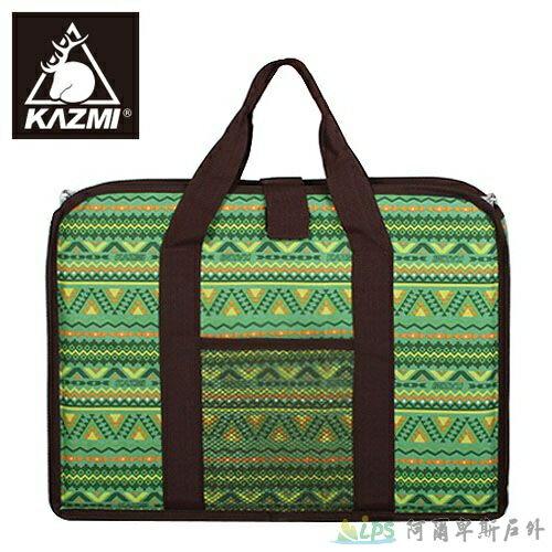 [阿爾卑斯戶外/露營] 土城 KAZMI 經典民族風折疊桌收納袋(單口爐收納袋) (41x29.5x4cm)-綠色 K4T3B001
