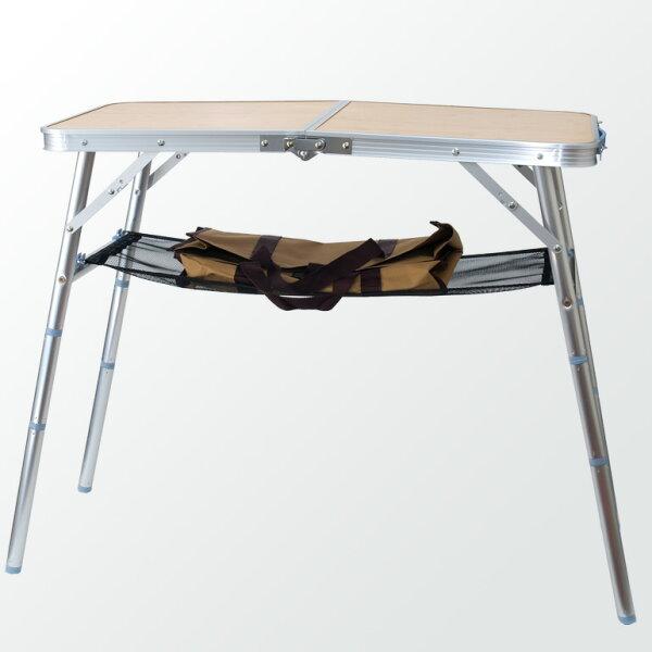 阿爾卑斯戶外用品:40x80cm四段高度竹紋面摺疊桌邊桌點心桌小餐桌EB0056