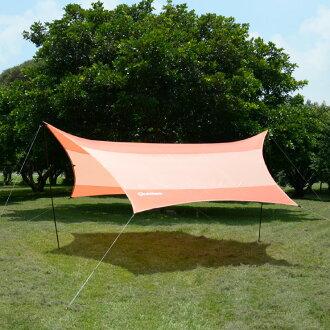 好野 Outthere蝶型天幕帳(小430 x 350cm)-橘色-整套含柱繩釘 AW00101