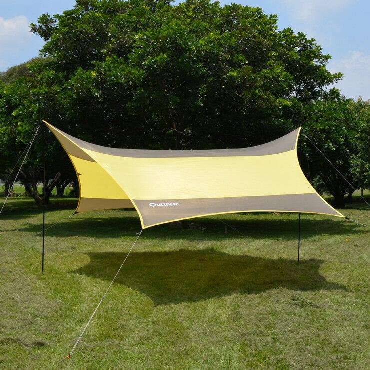 好野 Outthere蝶型天幕帳(大590 x 480cm )-棕色-整套含柱繩釘AW00210 [阿爾卑斯戶外/露營] - 限時優惠好康折扣
