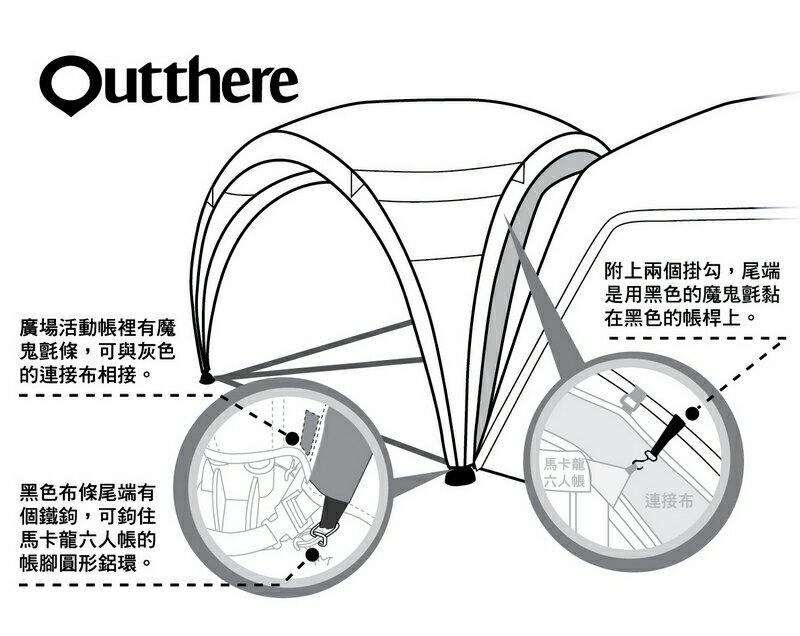 好野 Outthere廣場活動帳-馬卡龍六人帳專用連接布-灰色 AY00903