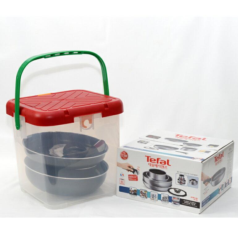 含RV桶 Tefal 法國製特福巧變精靈 尊爵灰六件組 強化鈦塗層 四鍋一蓋一把手與收納袋 L2329012set