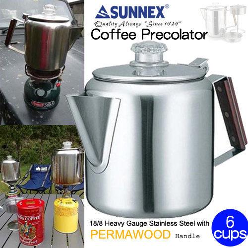 阿爾卑斯戶外用品:六杯份不鏽鋼美式咖啡煮壺8501250mlRV-ST270-6