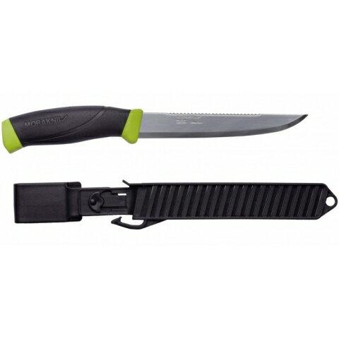 MORAKNIVFISHINGCOMFORTSCALER150不鏽鋼戶外魚刀鋸齒刀背黑綠11893