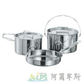 [阿爾卑斯戶外/露營]  日本鹿牌 CAPTAIN STAG 日製不鏽鋼鍋具三件組(M) 湯鍋 煮鍋 平底鍋 M-5530 - 限時優惠好康折扣