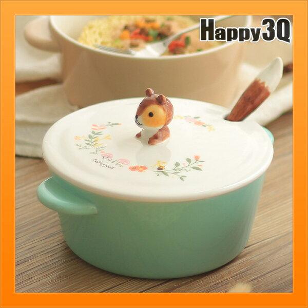泡麵碗附蓋陶瓷碗餐具組叉子湯匙勺子尾巴狐狸松鼠浣熊-紅綠棕【AAA4045】