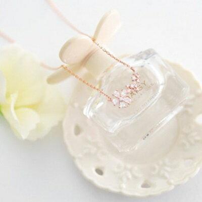 玫瑰金項鍊 鑲鑽純銀吊墜~ 優雅精緻小花朵七夕情人節 女飾品2色73dw166~ ~~米蘭