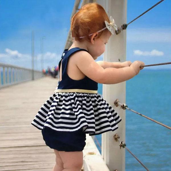 ins 露背 海軍風 小洋裝 短裙 連身裙 無袖 簍空 條紋 金 荷葉 蓬蓬裙 洋裝 背心