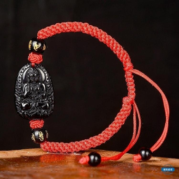 「樂天優選」生肖手串紅繩手鍊男飾品黑曜石十二生肖本命佛女佛珠手串守護神